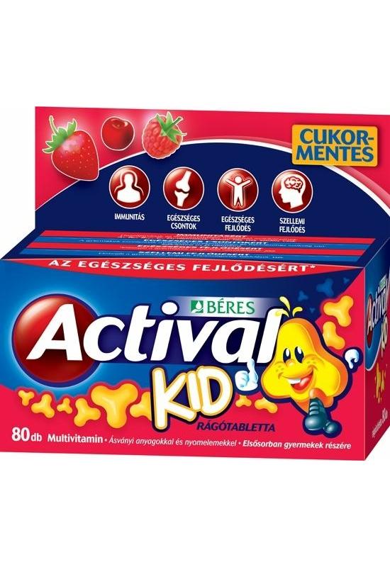 BÉRES ACTIVAL KID MULTIVITAMIN RÁGÓTABLETTA - 80X